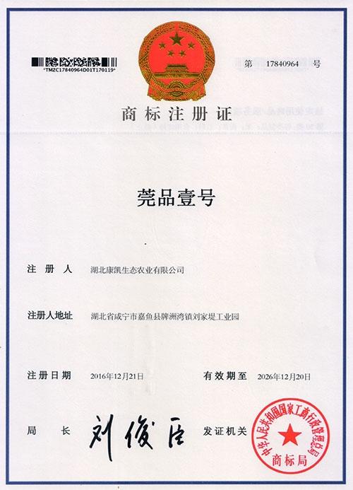 莞品壹号商标注册证